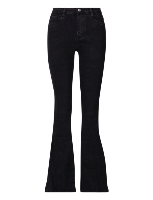 De zwarte flared spijkerbroek is high waist en heeft zakken en sluit met een knoop.
