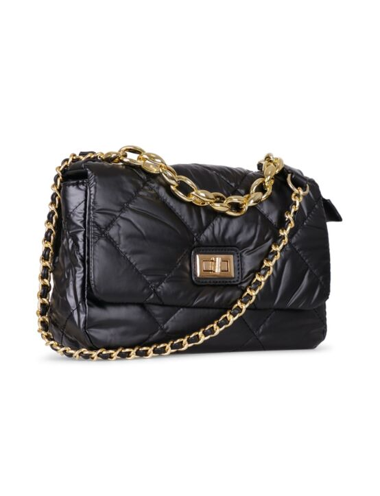 De tas, in zwart, gemaakt van PU-leer met een patroon, heeft een groot vak met binnenvak.