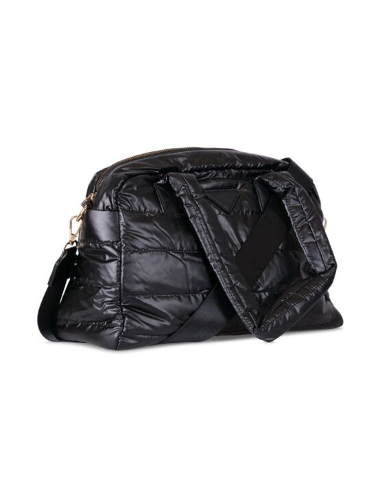 De tas, in zwart, gemaakt van PU-leer, heeft een rits en een groot vak met binnenvak en hengsels.