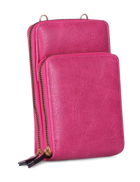 De portemonnee tas, in fuchsia, heeft twee verschillende vakken en een verstelbaar hengsel.