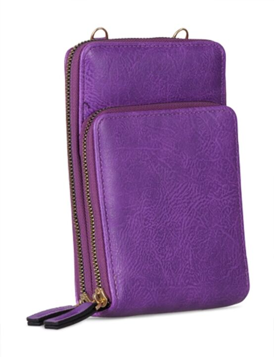 De portemonnee tas, in paars, heeft twee verschillende vakken en een verstelbaar hengsel.