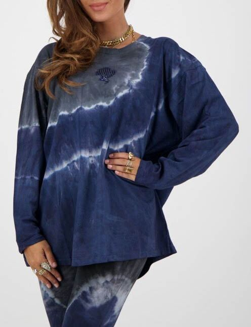 Reinders | T-shirt Tie Dye Long Sleeve Dark Blue