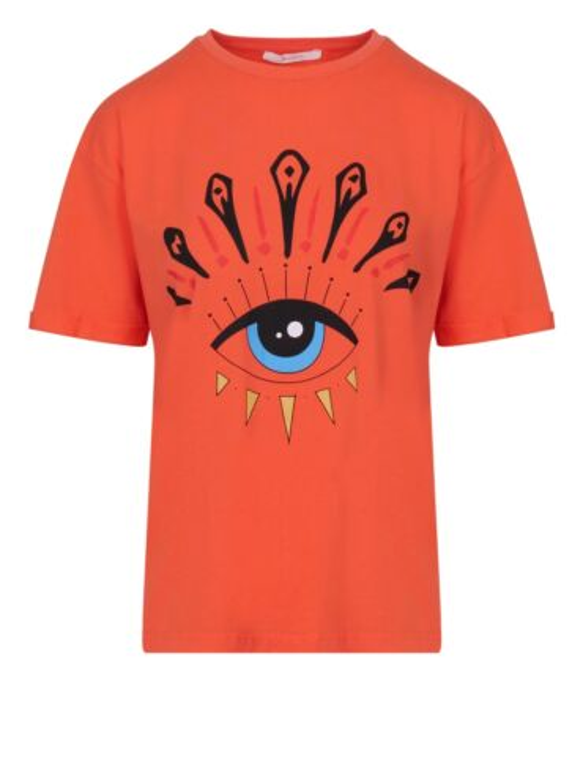 Dit koraal T-shirt heeft korte mouwen, een ronde hals en opdruk. Het T-shirt valt ruim.