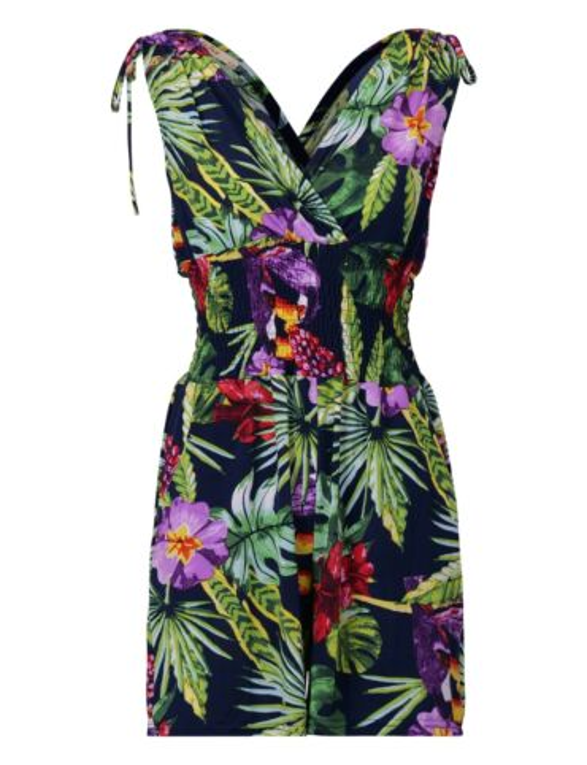 De jumpsuit, in bloemenprint, heeft een V-hals en elastische taille-band.