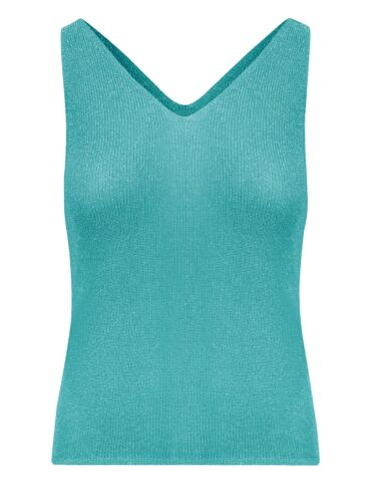 De mouwloze top, in een turquoise glitterstof, heeft een V-hals.