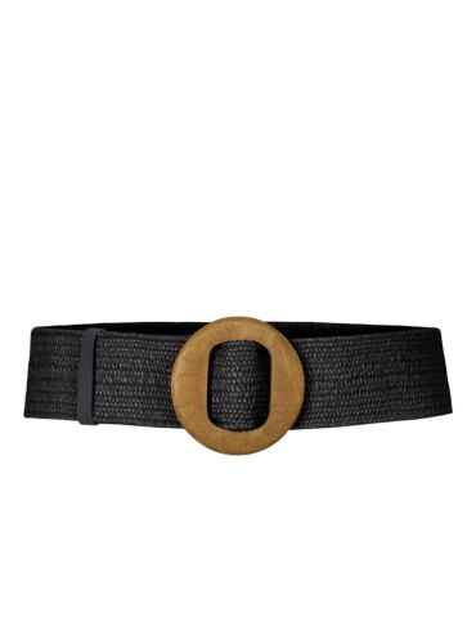 De zwarte, gevlochten riem heeft een houten gesp.