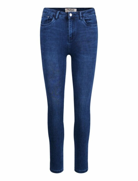 De blauwe skinny spijkerbroek is push up, heeft zakken en sluit met een knoop.