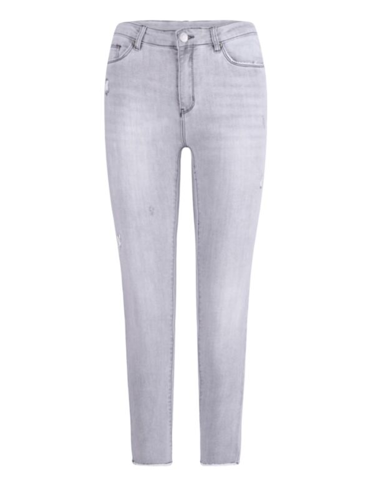 De grijze skinny spijkerbroek, is mid waist heeft een rafelige onderkant en destroyed details.