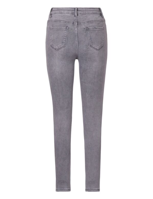 De grijze skinny spijkerbroek is high waist, heeft zakken en destroyed details.