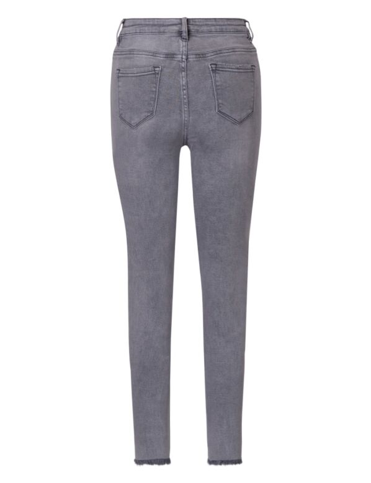 De grijze skinny spijkerbroek is high waist, heeft destroyed details en een rafelige onderkant.