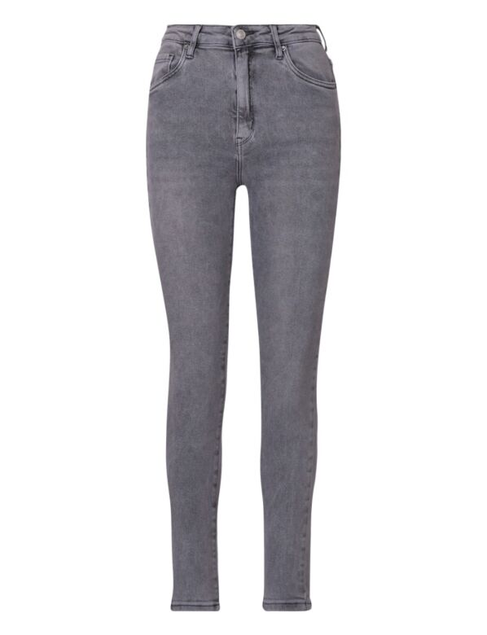 De grijze skinny spijkerbroek is high waist, heeft zakken en sluit met een knoop.