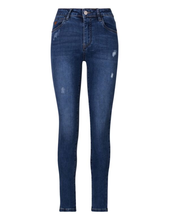 De blauwe skinny spijkerbroek is high waist, heeft zakken en destroyed details.